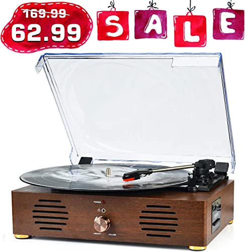 Record Player Turntable with Speakers 13-in-1 Wireless Portable LP Phonograph TF Card FM Radio with Built in Stereo Speakers USB SD 3-Speed Belt-Drive Vinyl Record Player