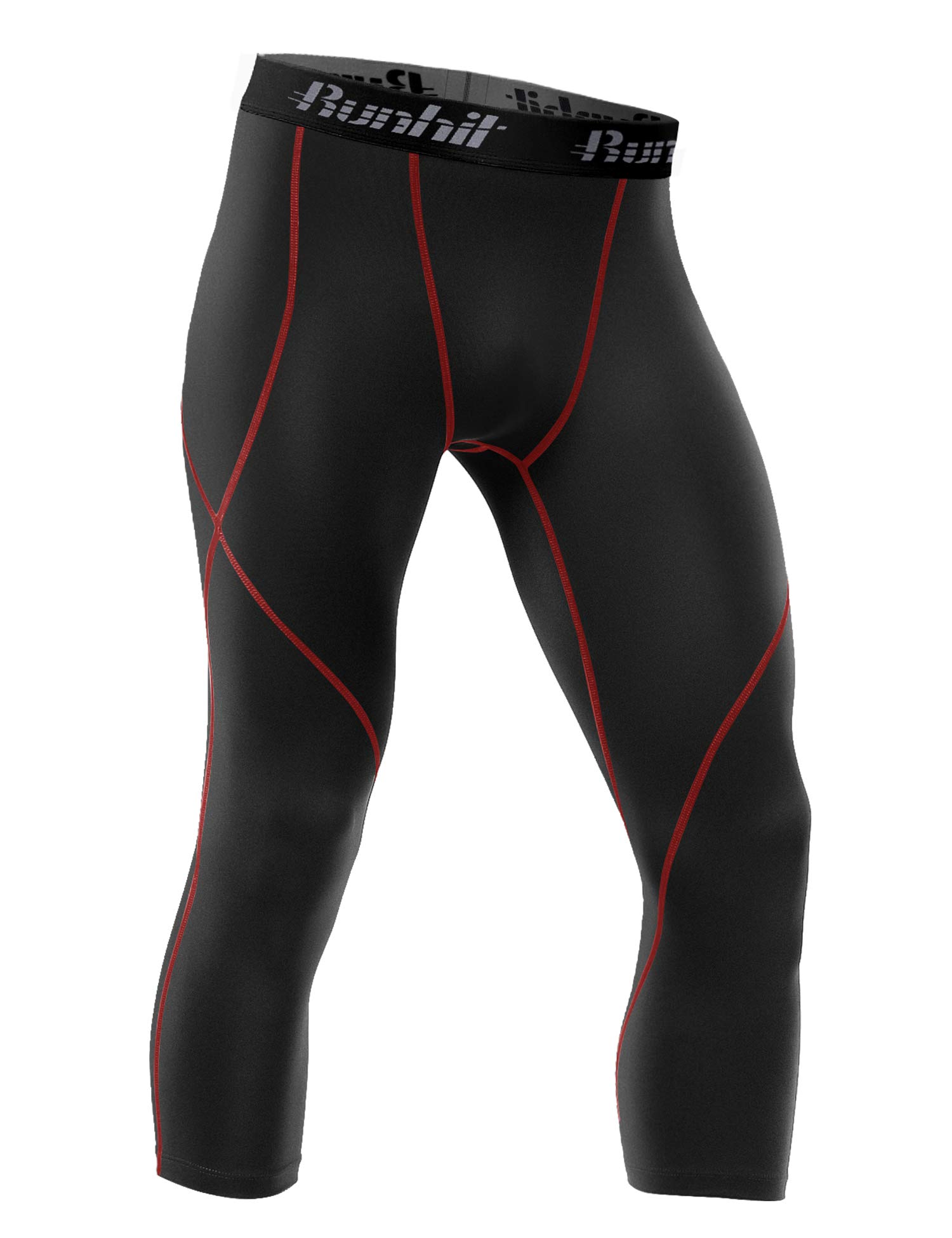 Runhit Mens 3/4 Compression Leggings Pants Capri Shorts Baselayer Cool Dry Sport Tights Black Red by Runhit