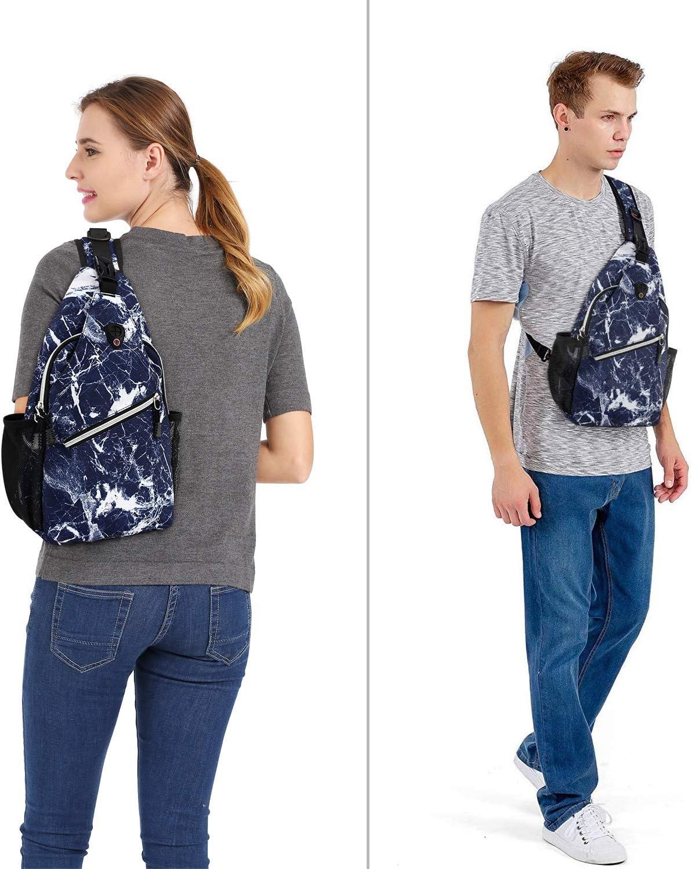 Black LIOOBO Sling Chest Backpack Waterproof Shoulder Backpack for Women Men Bicycle Sport Hiking Camping Travel