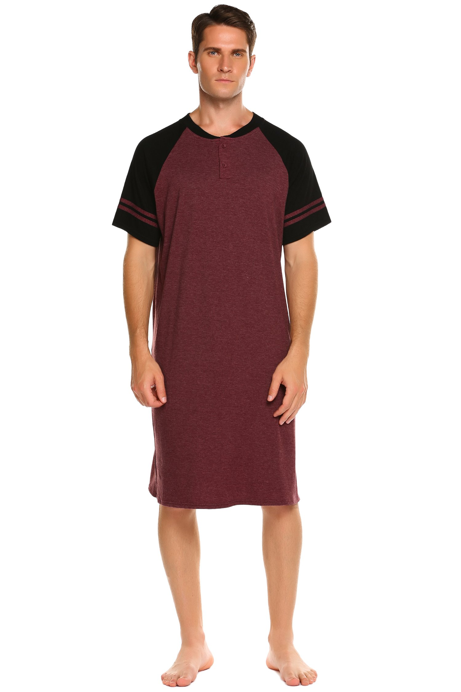 Ekouaer Men's Sleepwear Cotton Loungewear Soft Nightshirt (Wine Red, X-Large)