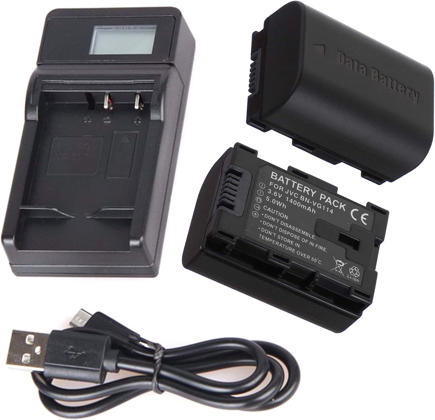 LCD USB Battery Charger for JVC Everio GZ-HM30SU GZ-HM30VU GZ-HM30RUS GZ-HM30RU GZ-HM30VUS HD Everio Flash Memory Camcorder GZ-HM30SUS