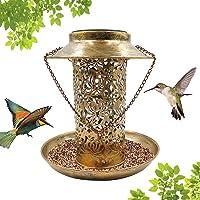 Floridliving Bird Feeder,Hanging Wild Bird Outdoor Feeder with Waterproof Solar LED,Garden Backyard Outdoor Decoration