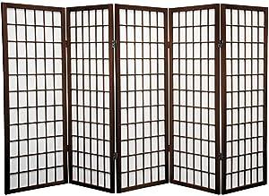 Oriental Furniture 4 ft. Tall Window Pane Shoji Screen - Walnut - 5 Panels