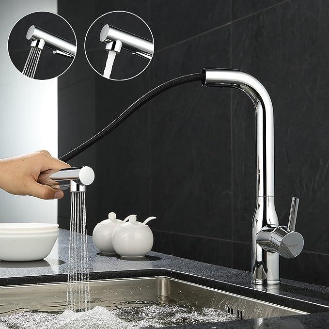 ubeegol Messing Chrom Wasserhahn Küche mit Brause Küchenarmatur ...