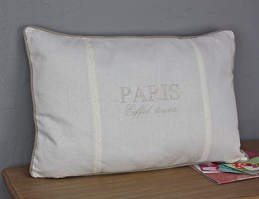 Kissen París Blanco marrón 45 x 65 cm cojín Incluye Relleno de cojín Algodón: Amazon.es: Hogar