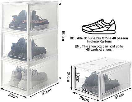 Transparente Pl/ástica,Organizador de Cajas de Almacenamiento de Zapatos Blanco Reutilizable Yorbay Cajas de Zapatos apilable Paquete de 3
