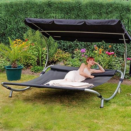 Amazon De Loywe Sonnenliege Doppelliege Mit Dach Fur 2 Personen Doppel Gartenliege Mit Sonnendach Fur Garten Oder Balkon 200x195x145cm Lw22 S