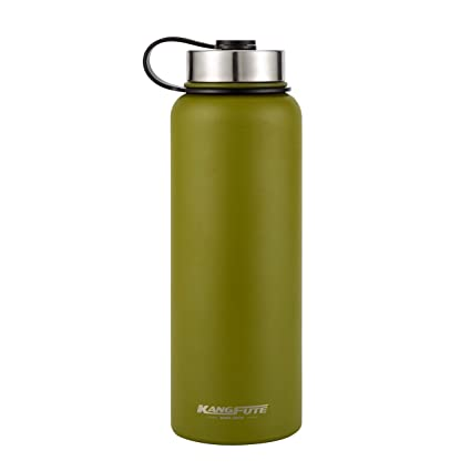 KANGFUTE Insulated Sports Water Bottle - Wide Mouth 18 8 Stainless Steel -  Powder Coated 848fa11a6