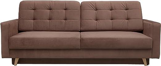 Amazon Com Vegas Mid Century Modern Tufted Futon Sofa Queen Sleeper With Storage Brown Kitchen Dining