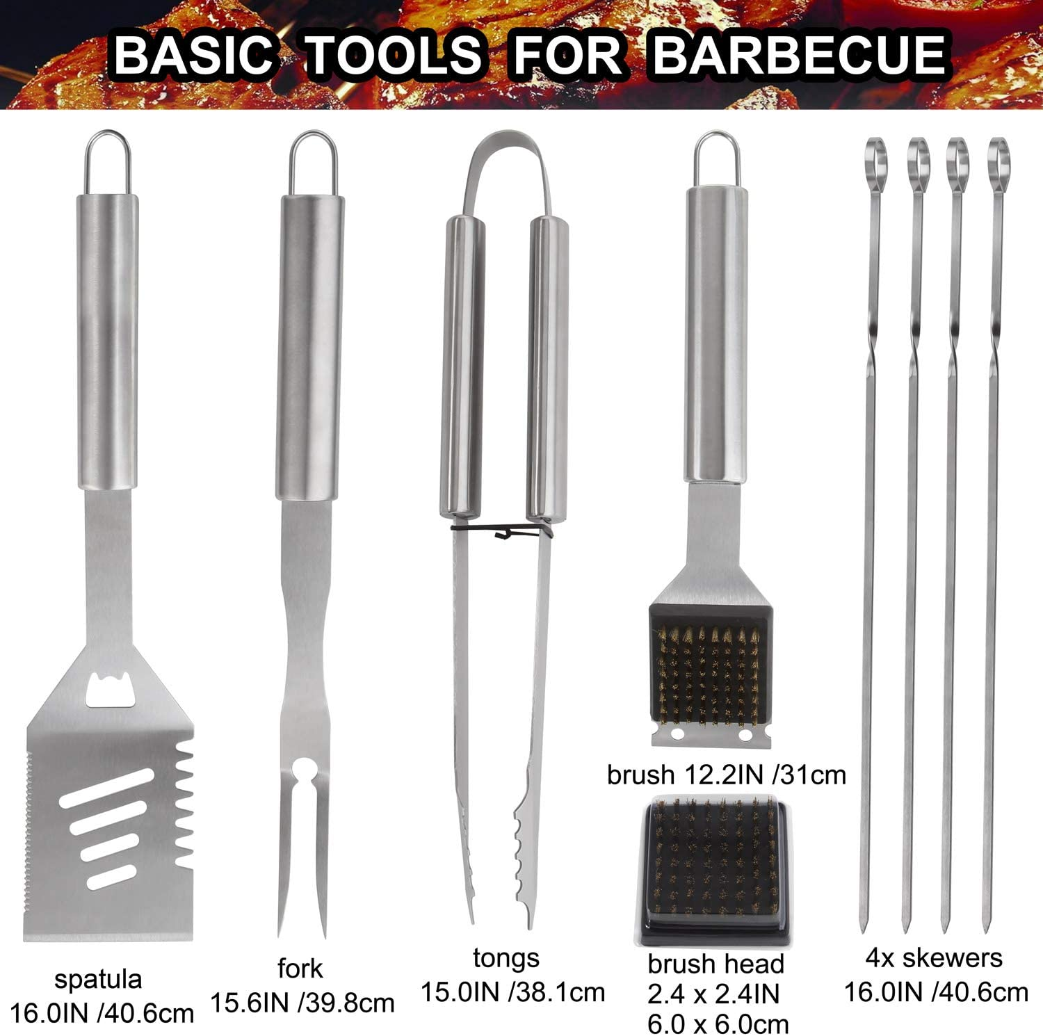 Grilljoy 29PCS BBQ Grilling Tools Set – Heavy Duty Stainless Steel Grilling Accessories with Barbecue Storage Case for Travel Camping Kitchen. Perfect BBQ Grill Utensil Gifts for Men Women on Birthday