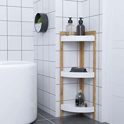 Woodluv Modern 3 Tier Free Standing Bathroom Corner Storage Shelf Storage Unit Amazon Co Uk Kitchen Home