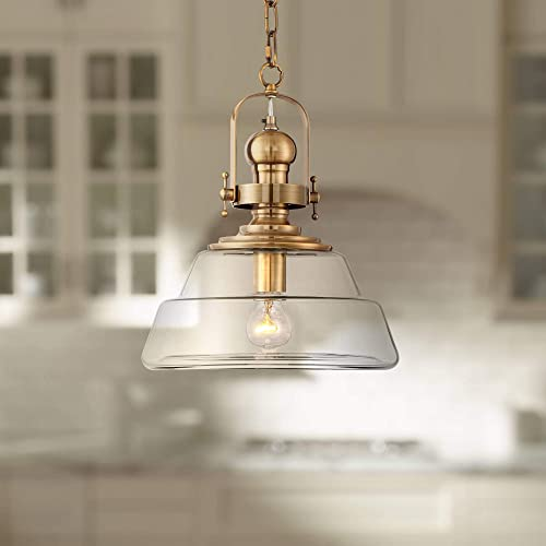 Donovan Antique Brass Pendant Light 13 Wide Modern Industrial Clear Glass Fixture for Kitchen Island Dining Room – Possini Euro Design