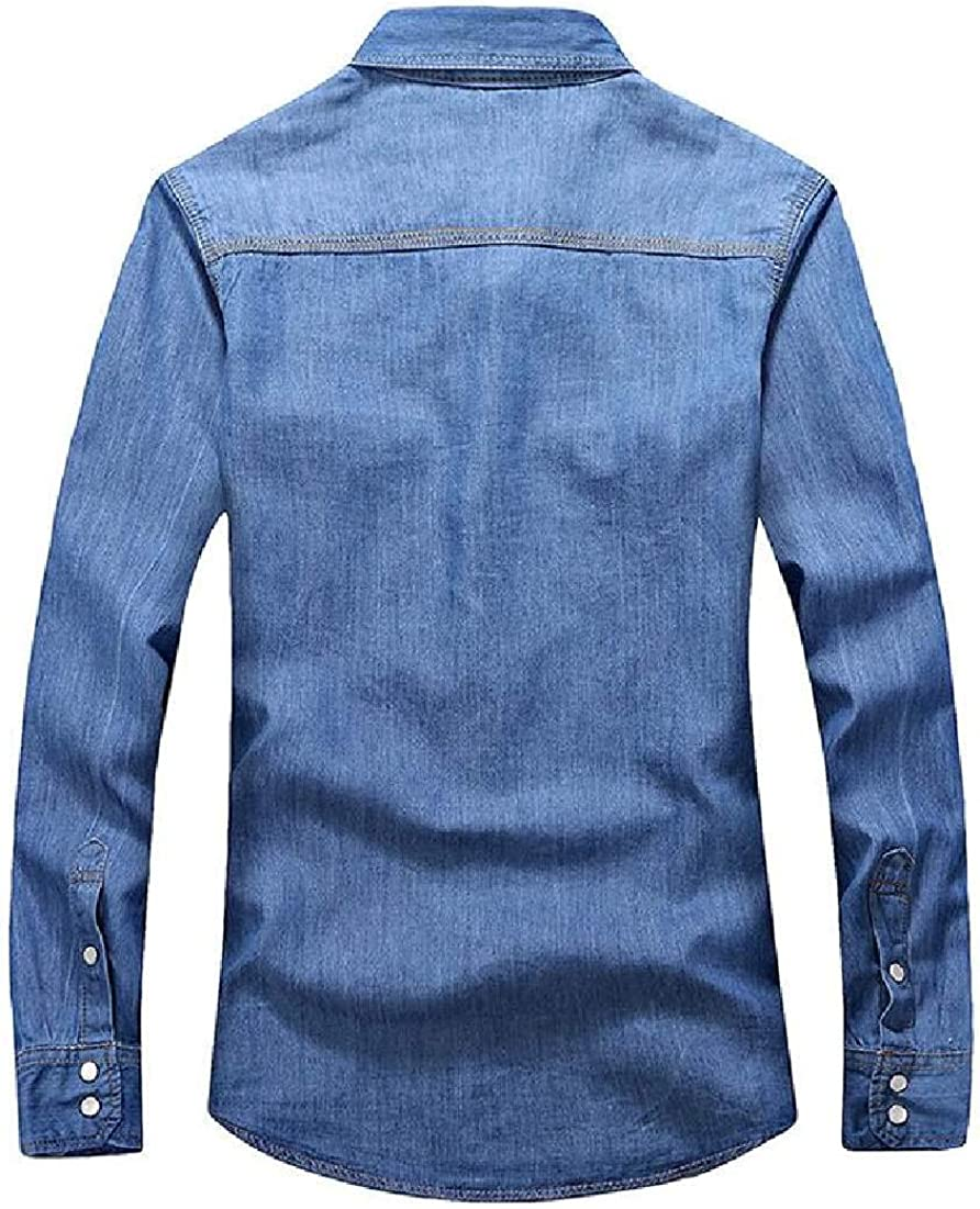Abeaicoc Men Button Up Long Sleeve Casual Slim Fit Shirts Pockets Denim Shirt