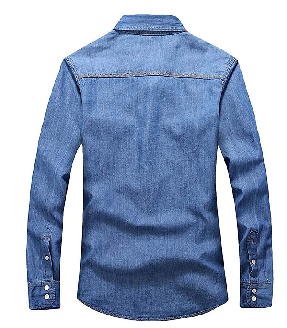 Rrive Mens Shirts Casual Slim Fit Button Up Long Sleeve Denim Shirt with Pockets