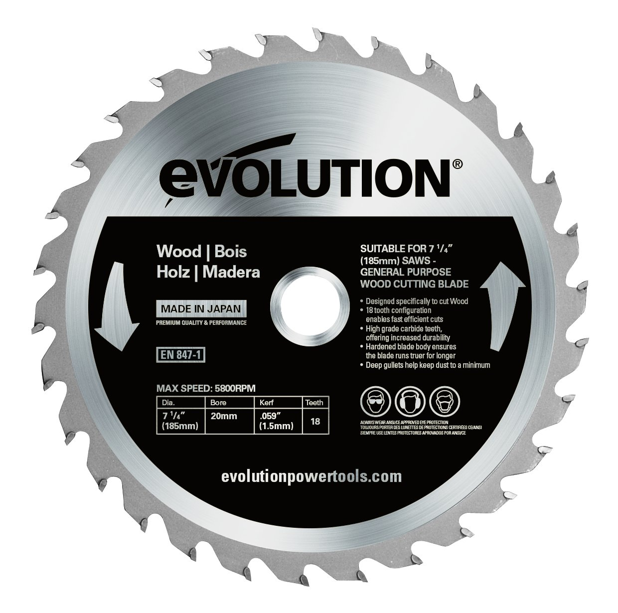 Evolution Thin Steel Carbide-Tipped Blade, 355 mm Evolution Power Tools (Steel) - Industrial Metal Fabrication EVOBLADE355TS