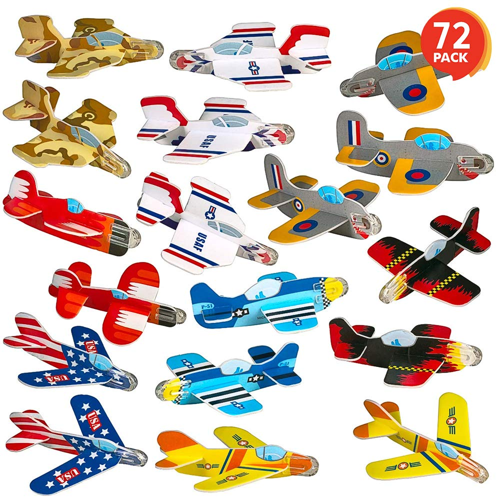 ArtCreativity Foam Gliders for Kids - Bulk Set of 72 - Lightweight Planes with Various Designs - Individually Packed Flying Airplanes - Fun Birthday Party Favors, Goodie Bag Fillers for Boys and Girls by ArtCreativity