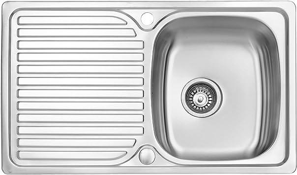Escurridor reversible para fregadero de cocina 800 x 480 mm 10 a/ños de garant/ía JASS FERRY con clips para tuber/ías de desag/üe de acero inoxidable