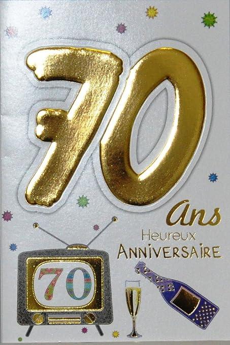 Age Mv 69 2040 Carte Anniversaire 70 Ans Homme Femme Motif Flute Bouteille Champagne Tv Television Amazon Fr Fournitures De Bureau