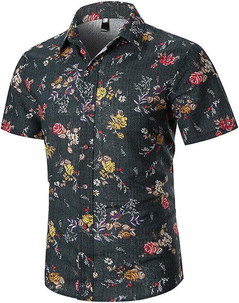 SUNMAIO Shirt Personality Printed Retro Button Down Jacket Shorts Comfortable Men