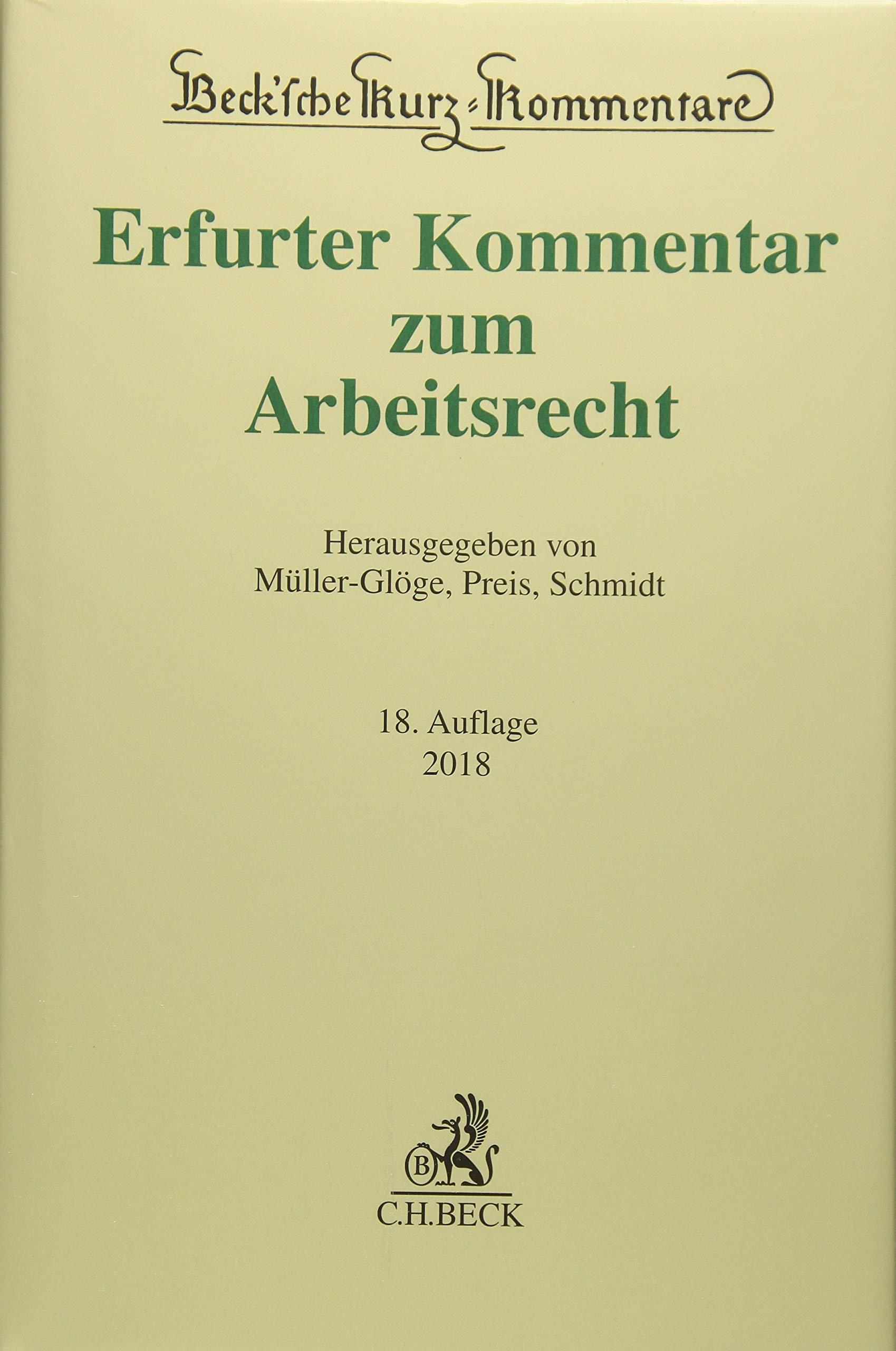 Erfurter Kommentar Zum Arbeitsrecht Becksche Kurz Kommentare Band