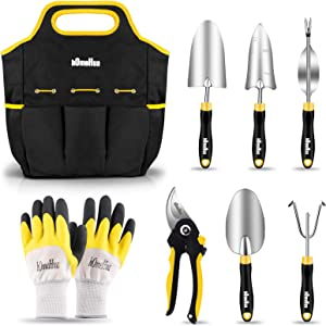 hOmeHua Garden Tools Set, 8 Piece Stainless Steel Heavy Duty Gardening Kit with Ergonomics Soft Rubberized Non-Slip Handle, Tote Bag, Gloves, Trowel, Weeder Tools - Garden Gifts Packing for Men Women
