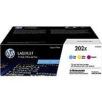 HP 202X | CF501X, CF502X, CF503X | 3 Toner Cartridges | Works with HP LaserJet Pro M254, M281cdw, M281dw | Cyan, Magenta…