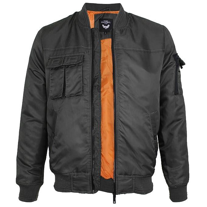 Para hombre Brave Soul principales Multi bolsillo MA1 Bombardero Vuelo Chaqueta Acolchada de Invierno Abrigo: Amazon.es: Ropa y accesorios