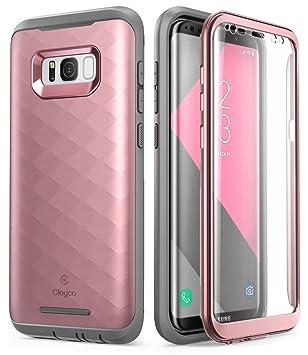 Clayco Funda Galaxy S8, [Hera Series] Carcasa Resistente con Protector de Pantalla Integrado para Samsung Galaxy S8 (Version 2017)(Rosado/Dorado)