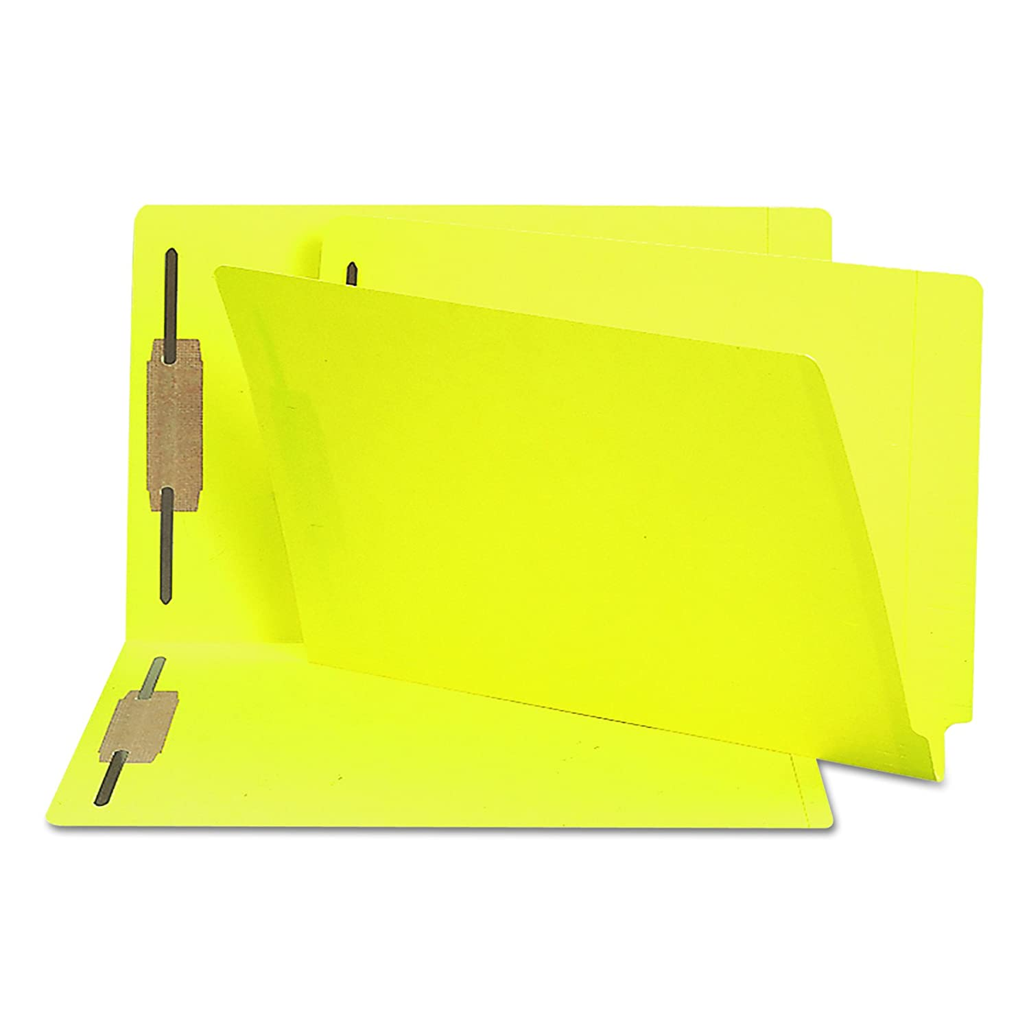 Smead End Tab Fastener Folder, Legal, Straight, Two 2-Inch Prong B Style #1 and #3 Fasteners, Yellow, 50 Per Box (28940)