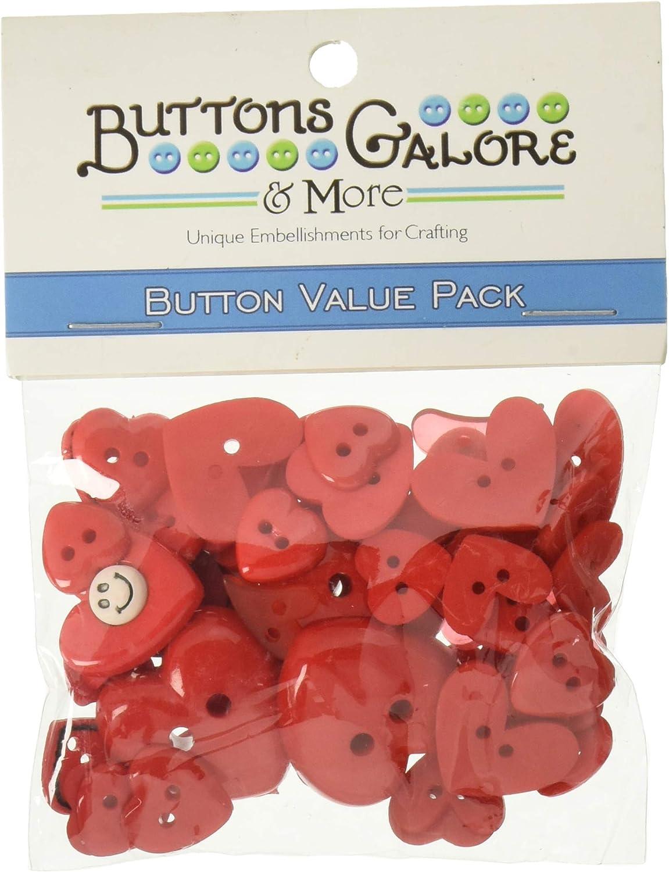 Botones Galore diseño de Corazones Rojos diseño de botón de plástico Resistente