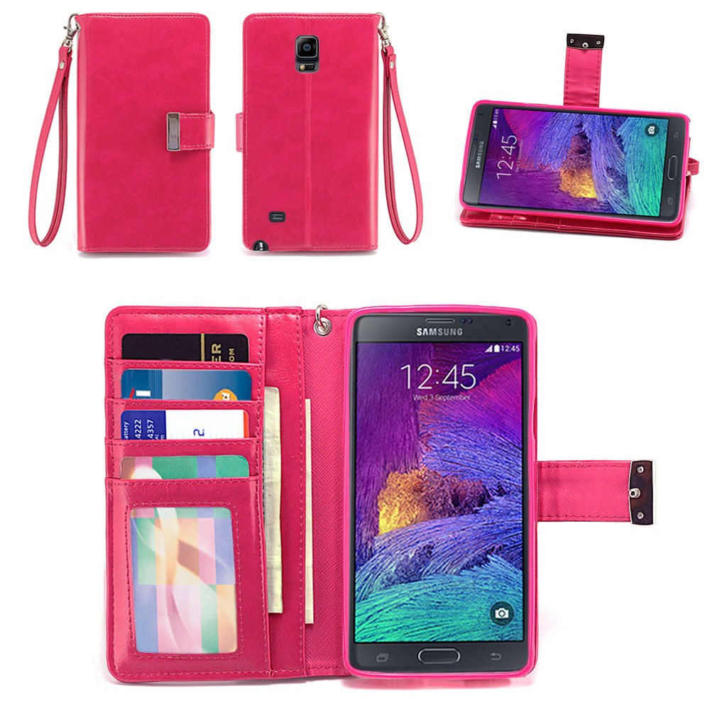 0b0488804cc Amazon.com  IZENGATE Samsung Galaxy Note 4 Wallet Case - Executive Premium  PU Leather Flip Cover Folio with Stand (Deep Rose Pink)  Cell Phones   ...