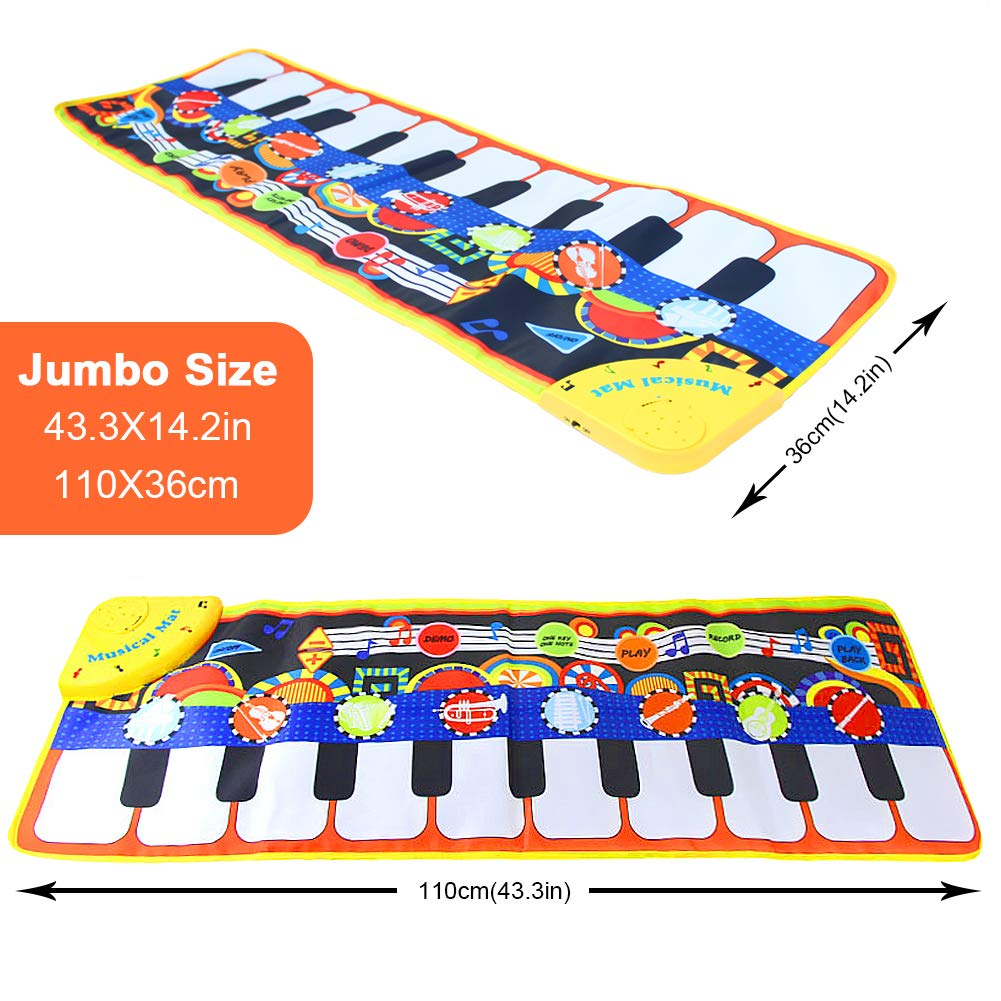 SuperWiner Musical Piano Mat,Kids Early Education Music Blanket,8 Musical Instruments,Demo Songs,19 Keys,Build-in Speaker and Recording Function Electronic Dance Mats(Black and White) by SuperWiner (Image #1)