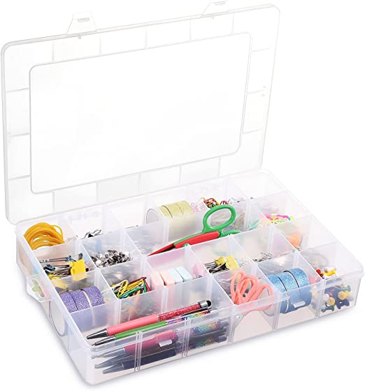 24 Grids Clear Plastic Organizer Box, BUG HULL Craft Storage Container Jewelry Box with Adjustable Dividers for Beads Art DIY Crafts Jewelry Fishing Tackles Metal Parts Accessories Screws Button