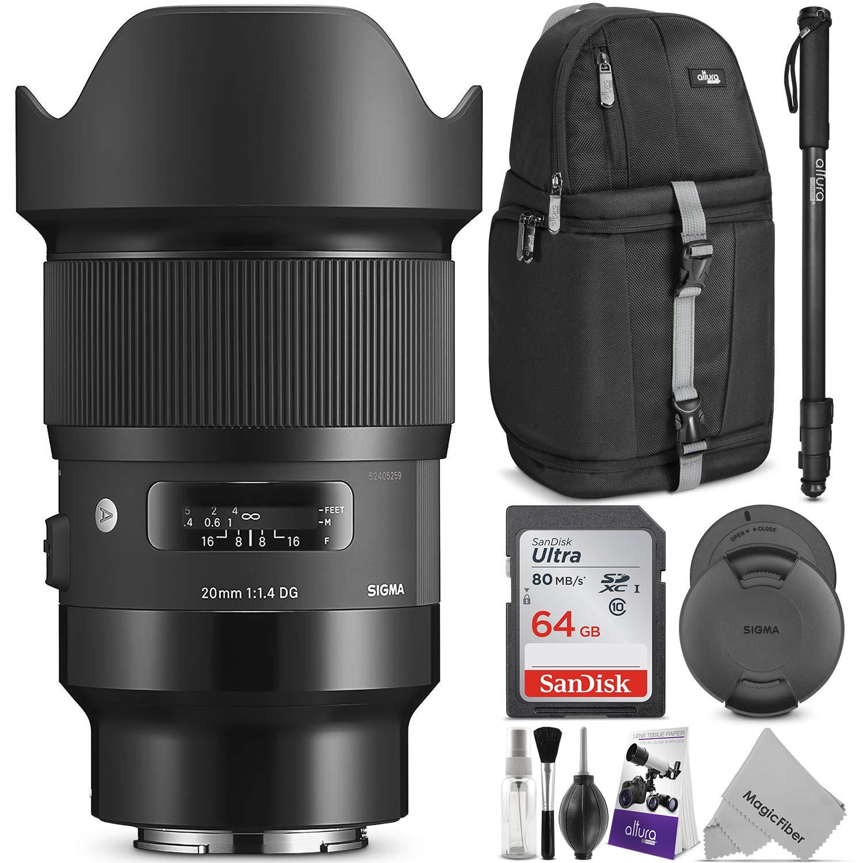 Sigma 20 mm F / 1.4 DG HSM Artレンズfor Sony EマウントカメラW/高度なフォトと旅行バンドル   B07BR5Y6J9