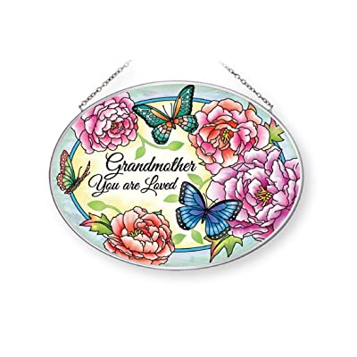 Amia Grandmother You are Loved Butterfly Floral, Medium Oval Glass Suncatcher, Multicolored: Home & Kitchen