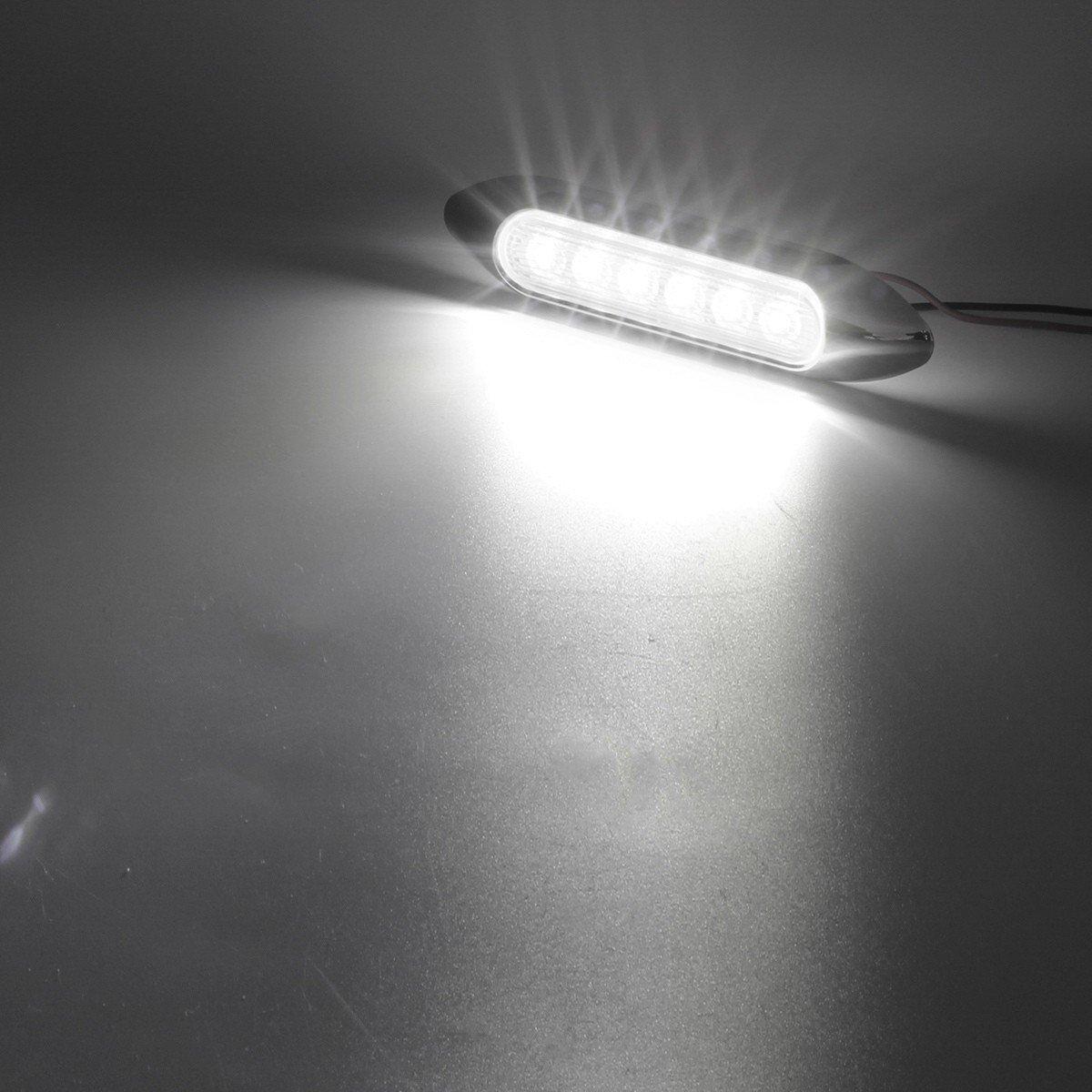 Partsam 2X Marine Boat White 5 Inch Led Strip Lights Courtesy Rock Lights 6 LED Sealed with Chrome Bezel Clear Lens