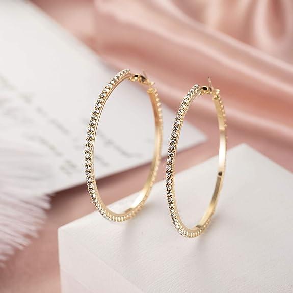 57549bedbdb3 Pendientes Aro Grandes Brillantes Diamante de Imitación Plata Pendientes  Moda Mujer San Valentín