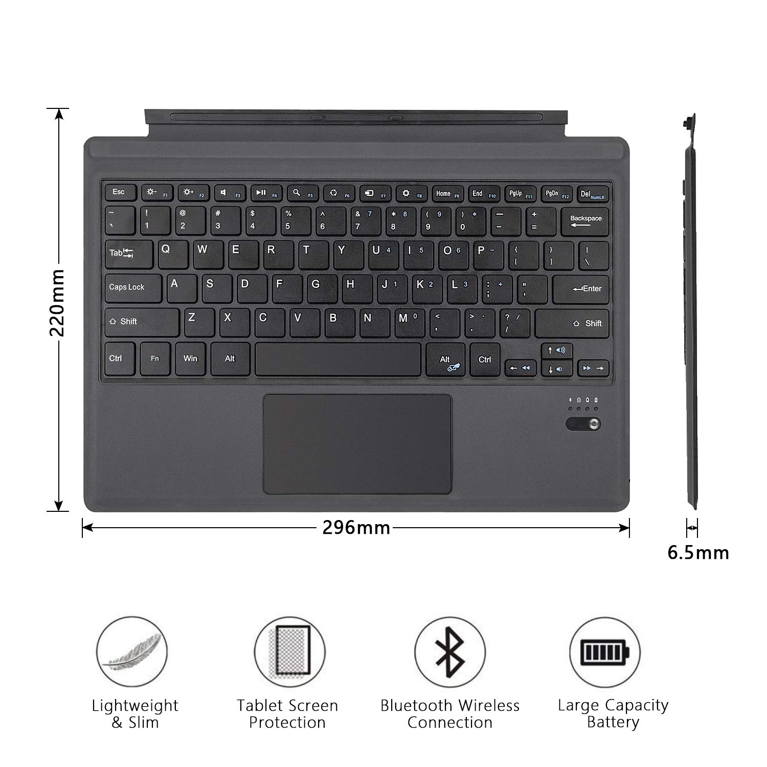 Tomsenn Surface Pro 6 / Surface Pro 5 (Pro 2017) / Pro 4 / Pro 3 Type Cover, Lightweight Slim Wireless Bluetooth Keyboard Two Button Trackpad Built-in Rechargeable Battery, Gray by TOMSENN (Image #5)