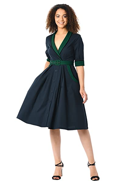 1950s Swing Dresses | 50s Swing Dress eShakti Womens Contrast Trim Cotton Poplin Belted Dress $57.95 AT vintagedancer.com