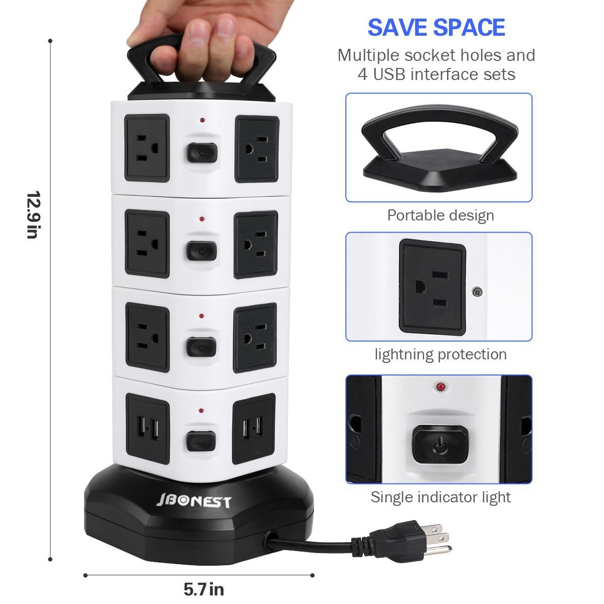 Jbonest Power Strip Tower 16 Outlet 4 Port Usb With Up To A Bar By Cutting The Plug Off Of Powerbar No Idea As I Surge Protector6ft Cord Wire Extension Charging Station Universal Socket For Pc Laptops