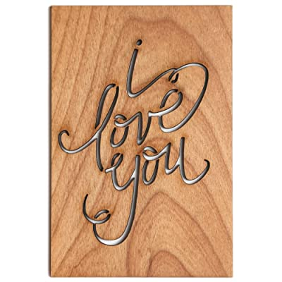 I Love You Calligraphy Laser Cut Wood Card (Love / 5 Year Anniversary / Boyfriend or Girlfriend / Valentine's Day / Personalized Available)