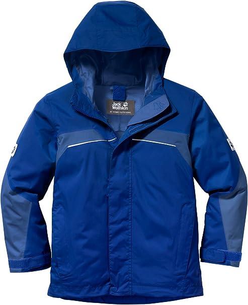 JACK WOLFSKIN Kinder Regenjacke Outdoorjacke winddicht wasserdicht blau Gr 140