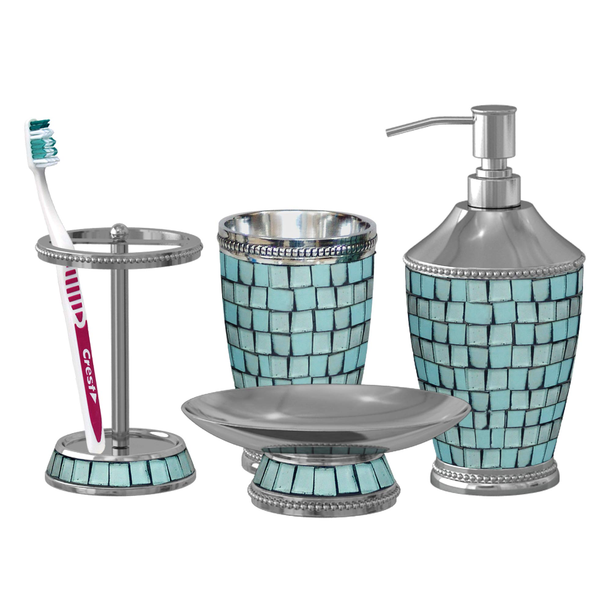 nu steel IBA-3456-SET4 Iceberg Collection Bathroom Accessories Set, Dispenser,Soap Dish, Toothbrush Holder and Tumbler, Aqua Glass Mosaic Finish