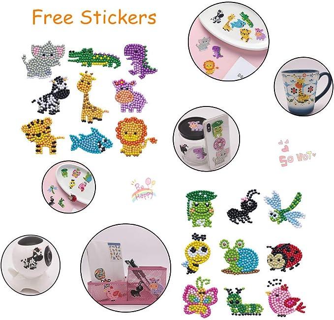 CASEYDRESS Diamond Painting Kits for Kids 5D Full Drill Animals Paint with Diamonds Dotz Art Crafts Small Easy Children Gem Mosaic Stickers(18Piece)