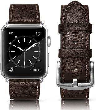 MCD Correa Piel para Apple Watch 44mm Series 4 y 42mm Series 3 Series 2 Sereis 1. Correa de Piel Cuero Genuino: Amazon.es: Electrónica