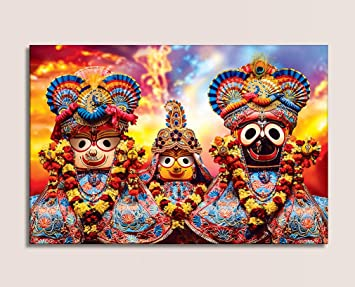 Mpro Tech Eco Canvas Puri Lord Jagannath Religious Hd Wallpaper Canvas For Living Room Size 90 Cm X 135 Cm Design 15 Amazon In Home Kitchen