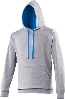 AWDis Hoods Varsity Hoodie Heather Grey-Sapphire Blue Streetwear Sweat Capuche Hommes