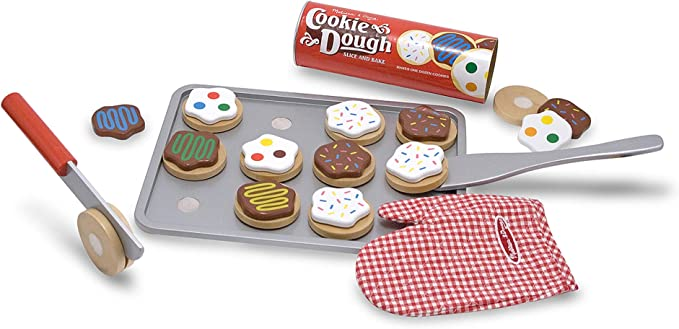 """Melissa & Doug Slice-and-Bake Wooden Cookie Play Food Set, Pretend Play, Materials, 28 Pieces, 10.5"""" H x 13.5"""" W x 3.25"""" L"""