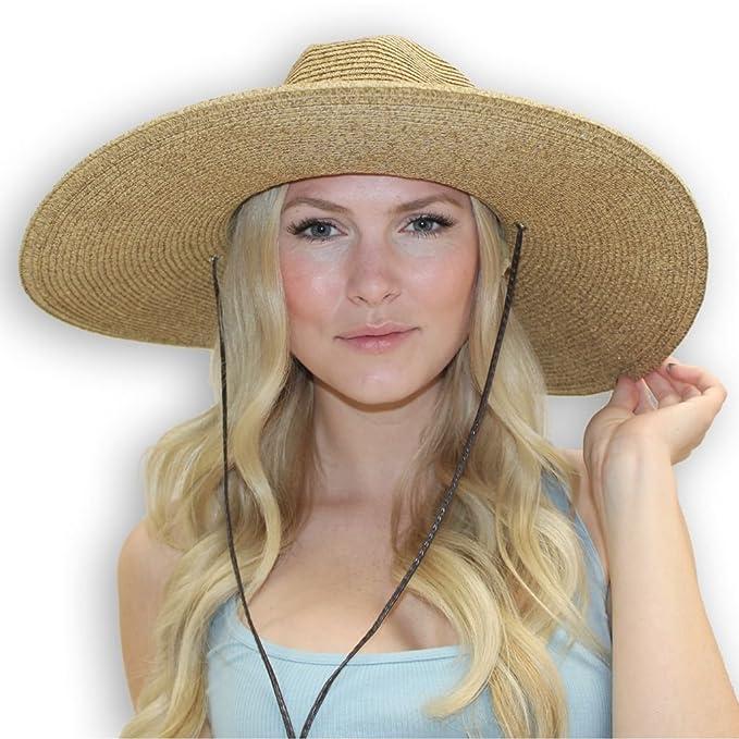 5b7000af4 El Ranchero Extra Large Brim Straw Sun Hat for Men & Women with Chin ...
