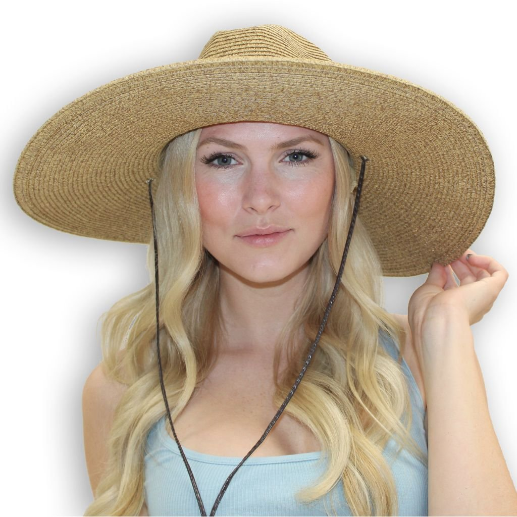 El Ranchero Extra Large Brim Straw Sun Hat for Men & Women with Chin Strap Fashionable & Perfect for Gardening Coffee (2XLarge) by sungrubbies (Image #2)